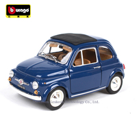 Bburago 1:24 1968 Fiat 500L Blue manufacturer authorized simulation alloy car model crafts decoration collection toy tools