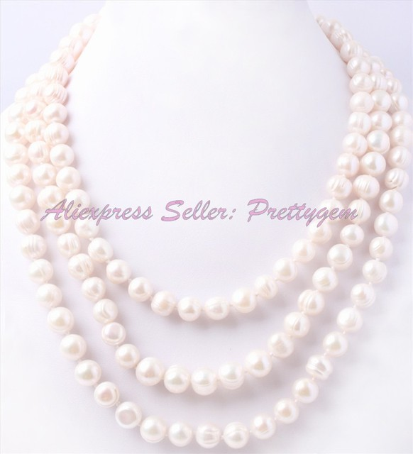 """FREE SHIPPING 9-10MM NEAR ROUND NATURAL WHITE FRESHWATER PEARL GEM STONE HANDWORK FASHION SWEATER NECKLACE 60"""",NOT BUTTON"""