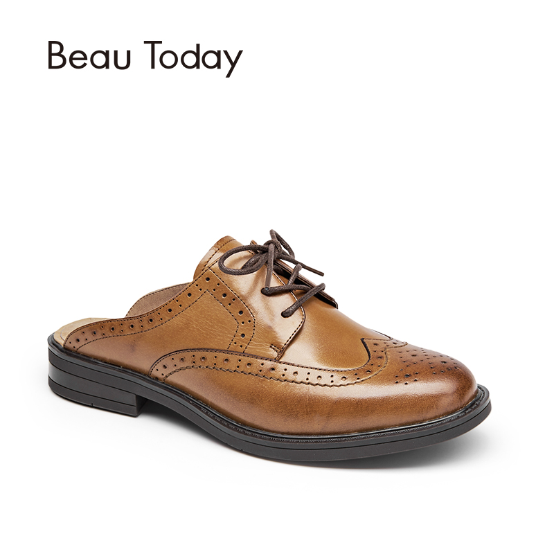 BeauToday Mules Women Genuine Leather Lace Up Backless Round Toe New Fashion Brogue Style Ladies Shoes with Box 36009 33 45 size women genuine leather oxford shoes fashion round toe lace up flat ladies england style brogue oxfords for women d005