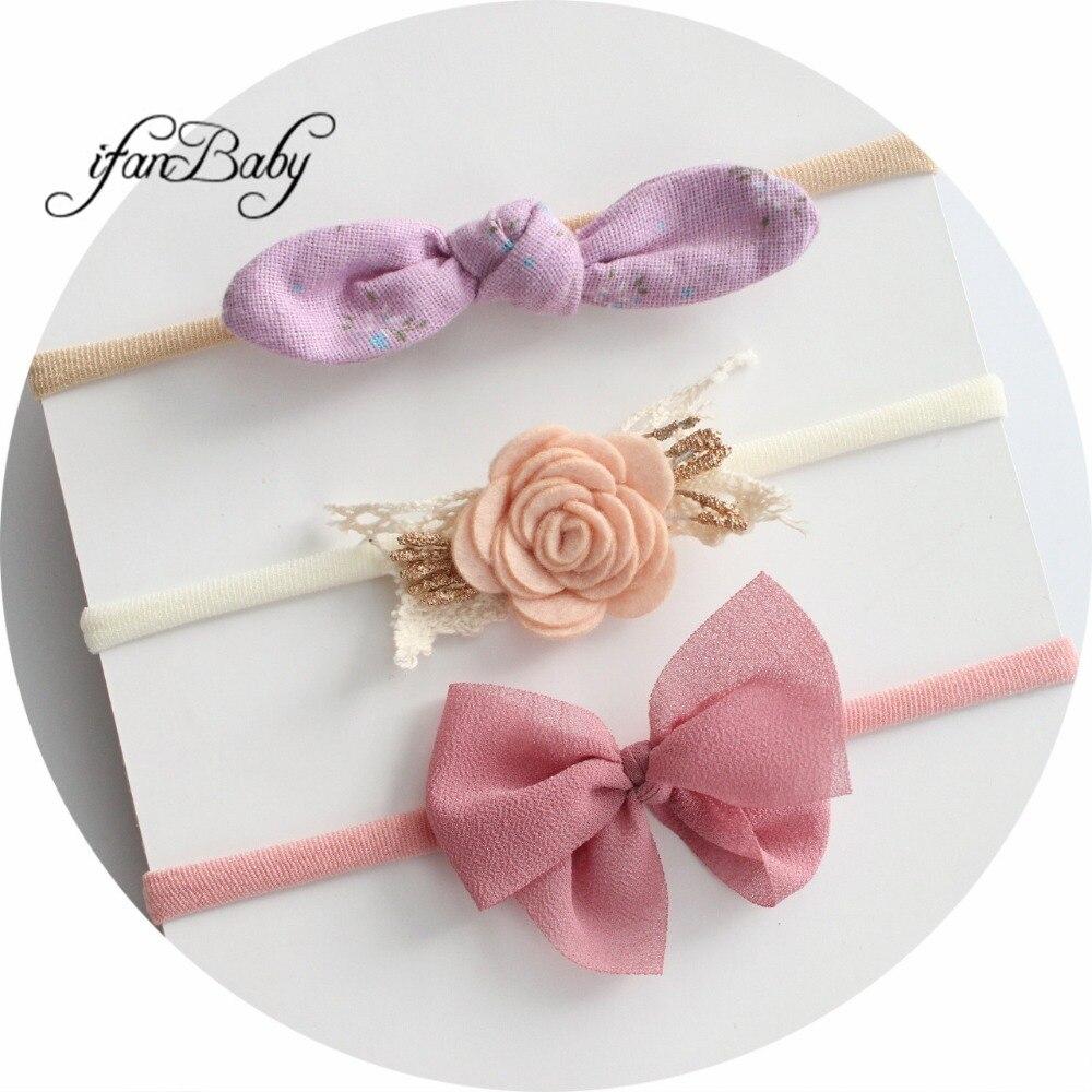 3pcs/set Kids Girl Headband Chiffon Bow/shabby Fabric Flower On Nylon Headband Rabbit Ears Hair Accessories Flower Headband