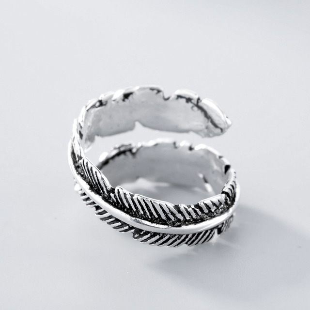 Todorova 925 Sterling Silver Do The Old Feather Open Rings for Women Ancient Style Lady Prevent Allergy Sterling-silver-jewelry