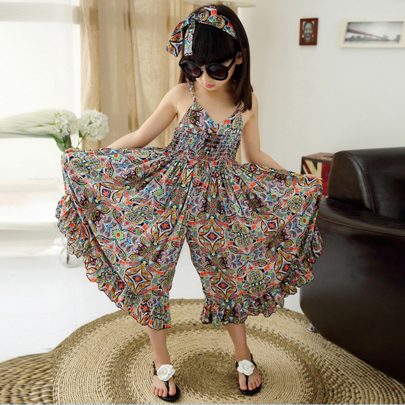 Bohemian Clothes for Girls Fashion Print Clothing Children Summer Beach Romper Floral V-neck Sleeveless Jumpsuits Maxi Pants Y1 blue sexy plunge v neckline random floral print maxi dress