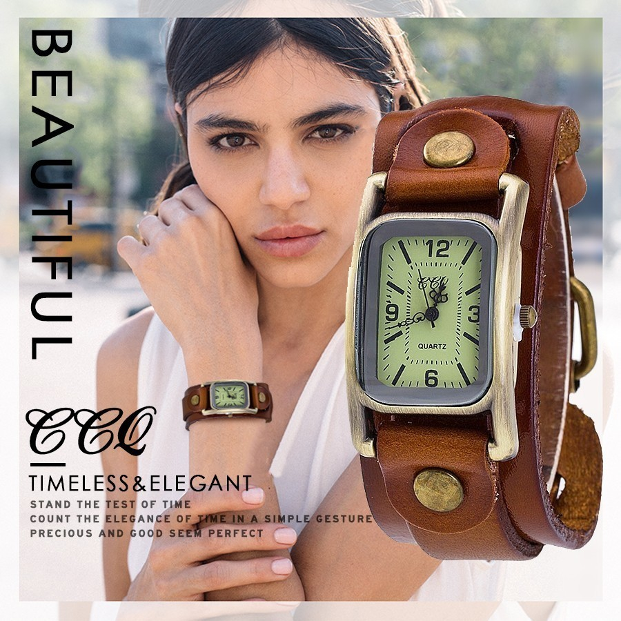 Hot Selling CCQ Brand Vintage Cow Leather Bracelet Men Women Wristwatches Casual Male Luxury Quartz Watch Drop Shipping