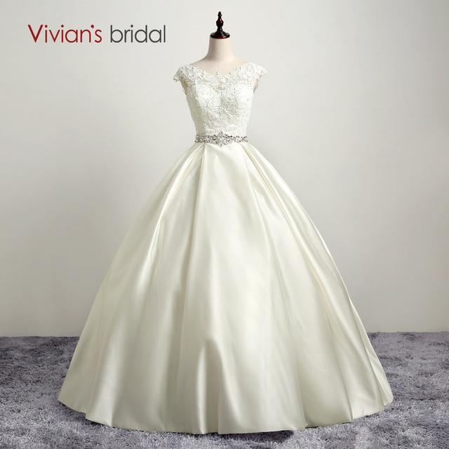 Vivians Bridal Satin Wedding Dress Cap Sleeve Lace Ball Gown