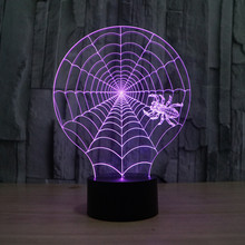 Novelty Luminaria Led 3d Light Spider net colorful touch LED lamp gift atmosphere desk lamp 3d Light Fixtures