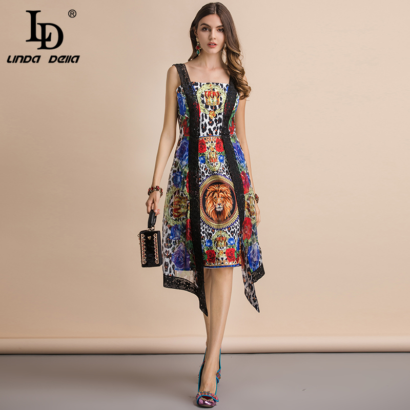 LD LINDA DELLA Fashion Runway Summer Sexy Lace Spaghetti Strap Dress Women s Backless Animal Print
