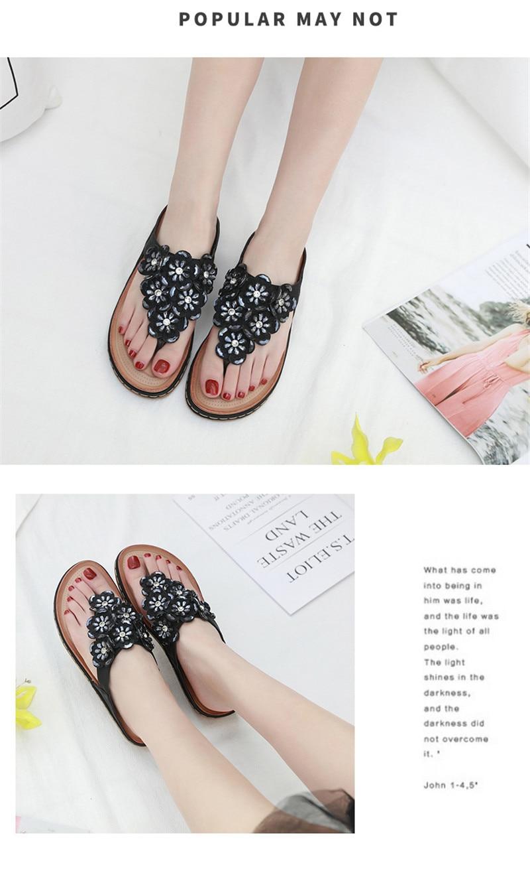 New 2019 ethnic women`s sandals cross-border bohemian rhinestones large size comfortable flat shoes beach shoes (5)