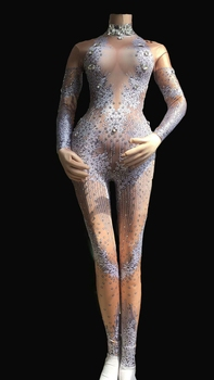 Nightclub Sexy Stretch Jumpsuit Sparkly Rhinestones Bodysuit Stage Wear Women's Celebrate Shining Crystals Costume Outfit DJ DS