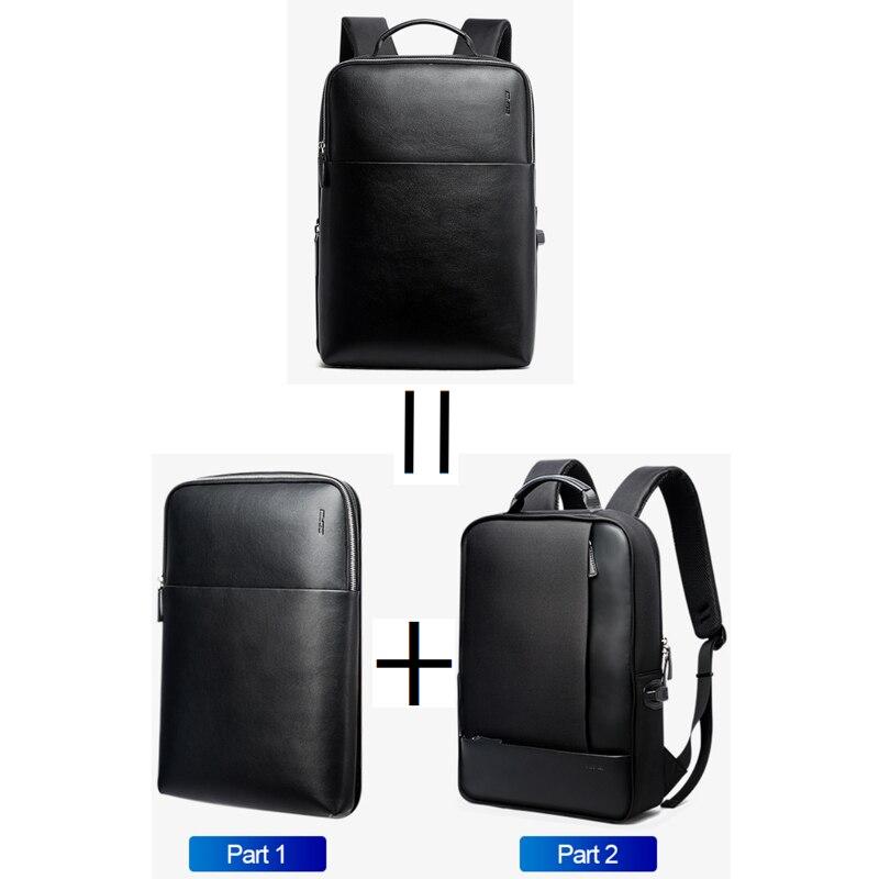 BOPAI grande capacité hommes voyage sacs détachable 15.6 pouces sac à dos pour ordinateur portable avec sac à Main pour hommes d'affaires voyage en cuir sac à dos - 3