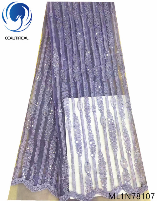 Beautifical glitter sequin lace purple lace fabrics french fabric nigerian french net lace fabric for wedding hot sales ML1N781