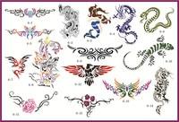 골든 피닉스 책 6 임시 에어 브러쉬 문신 스텐실 바디 아트 페인트 메이크업 화장품 100 디자인 무료 배송