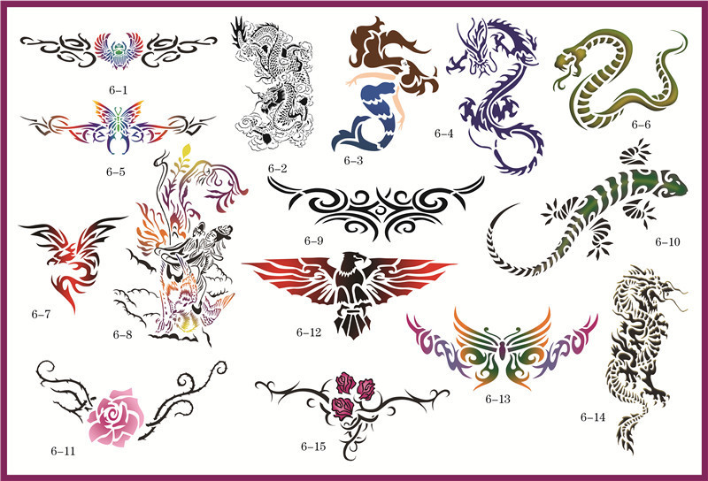 Golden Phoenix Book 6 Temporary Airbrush Tattoo Stencils For Body Art Paint Makeup Cosmetics 100 Designs Free Shipping