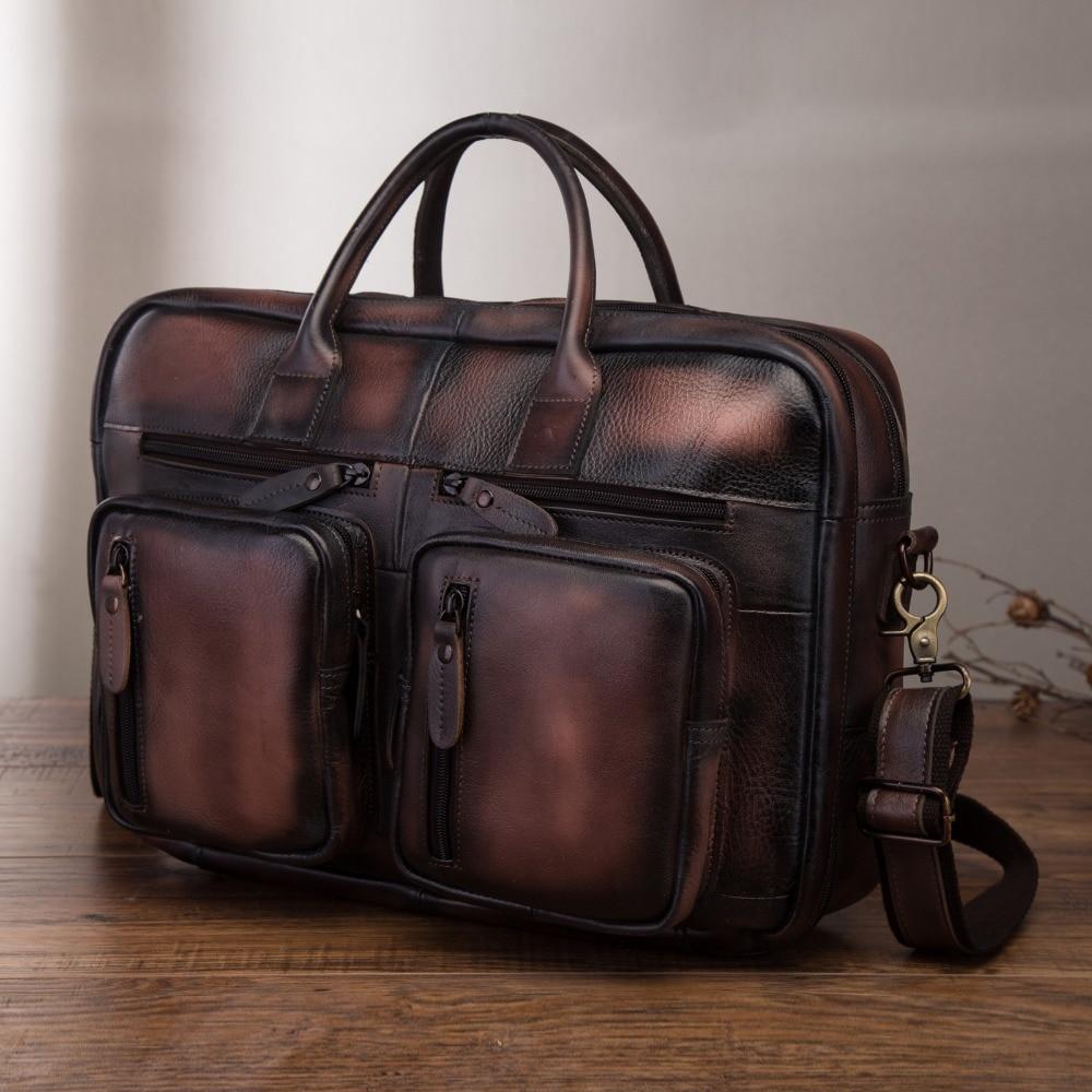 Original Leather Fashion Business Briefcase Messenger Bag Male Design Travel Laptop Document Case Tote Portfolio Bag K1013db
