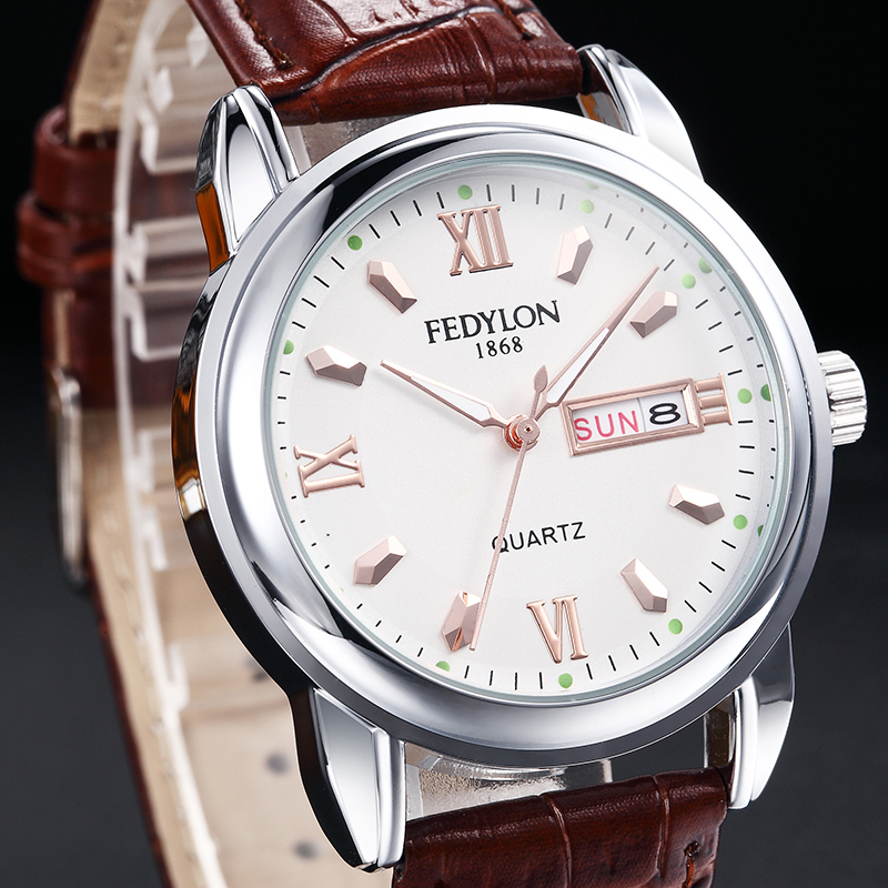 FEDYLON Brand New Fashion Watch Men Elegant British Style Roman Numerals Double Calendar Dial Casual Business