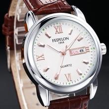 FEDYLON Brand New Fashion Watch Men Elegant British Style Roman Numerals Double Calendar Dial Casual Business Quartz Wristwatch
