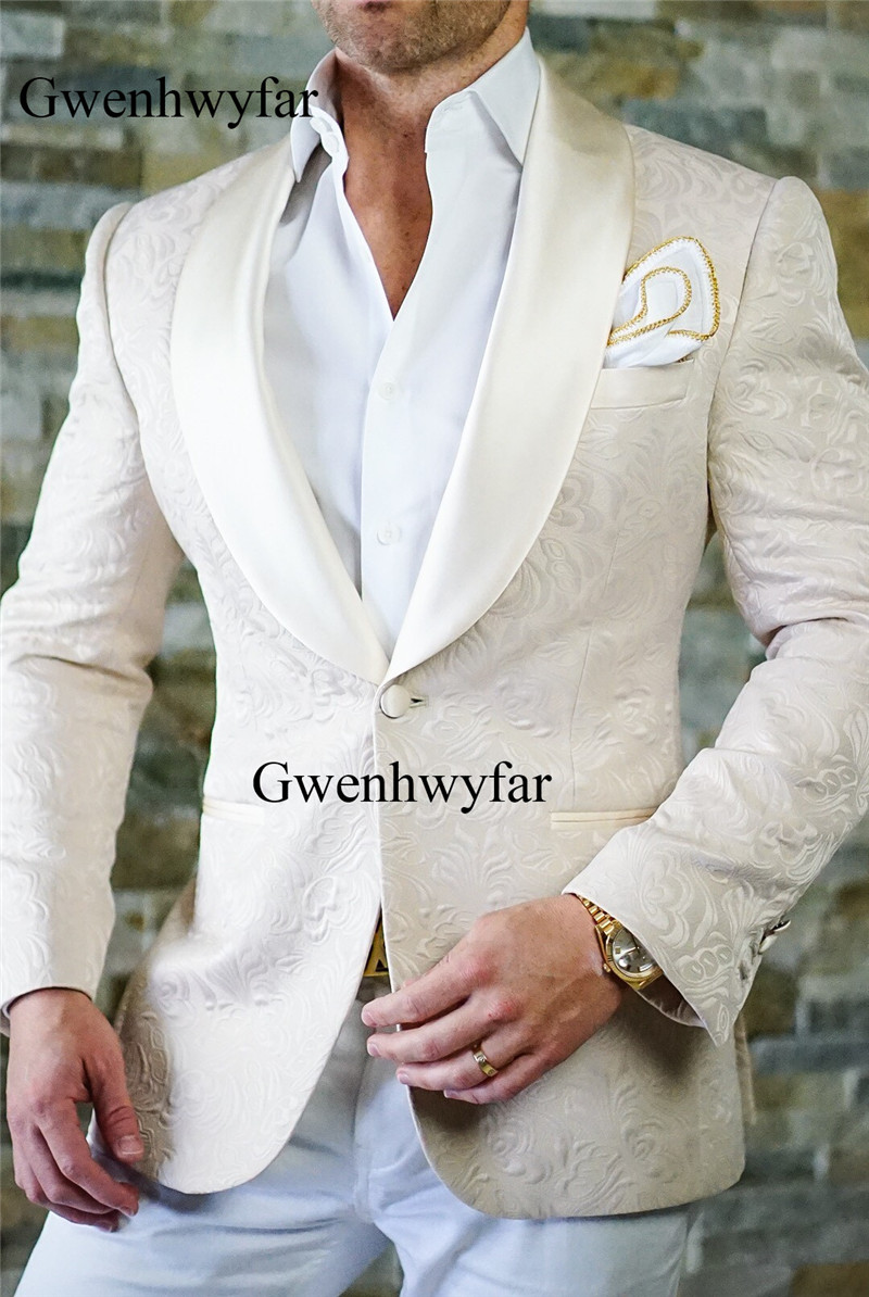 Gwenhwyfar Latest Coat Pant Design Classic Ivory White Flower Wedding Suits For Men Best Man ...