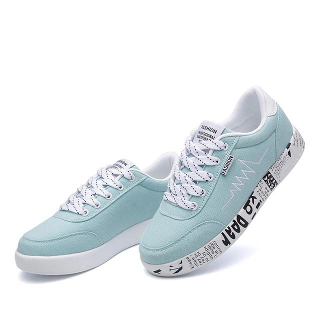 HZXINLIVE 2018 Fashion Women Vulcanized Shoes Sneakers Ladies Lace-up Casual Shoes Breathable Walking Canvas Shoes Graffiti Flat 1