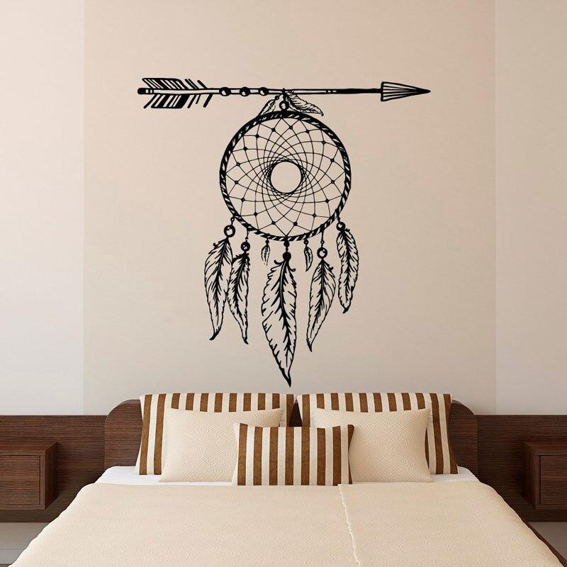 Перья для стрел Ловец снов наклейки на стену виниловые наклейки на стену гостиная спальня богемные фрески ZM10-in Настенные наклейки from Дом и животные