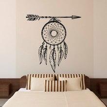 Atrapasueños de plumas de flecha, pegatinas de vinilo para pared, murales bohemios para sala de estar y dormitorio ZM10