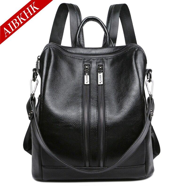 ФОТО AIBKHK Women's Bag Cow Split Leather Backpack Girls School Bags Fashion Travel Double Zipper Shoulder Belts Back Pack J8702