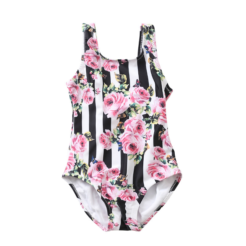 Striped Flowers Baby Swimwear Children Roses Classic Pattern Onesie Swimsuit for 0-10yrs Children Holiday Bathing Suit Купальник