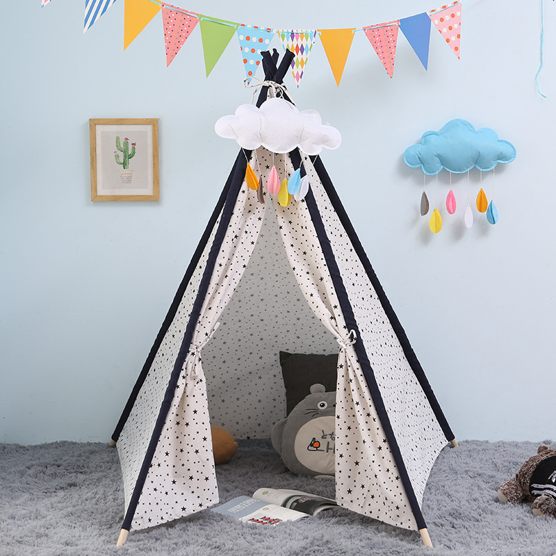 Playhouse with Mat Indoor Outdoor Toy Boys Girls Baby Gift Kids Teepee Play Tent - 100% Cotton Canvas Grey Stripe Children Tipi kids parachute toy with handles play parachute tent mat cooperative games birthday gift lbshipping