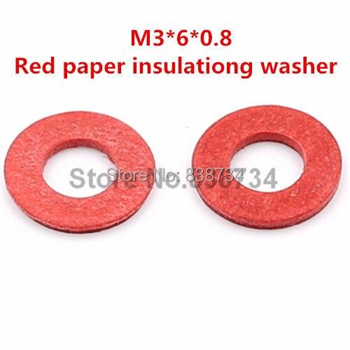 25 Pcs Red Fiber Washer 2mm x 6mm x 0.8mm