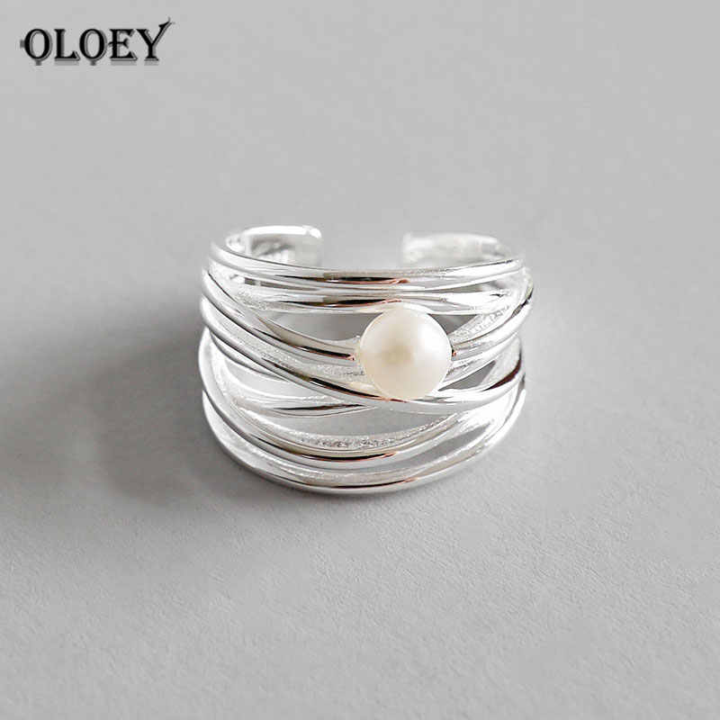OLOEY Genuine 925 Sterling Silver Adjustable Ring Women Personality Irregular Multi-layer Natural Freshwater Pearl Rings YMR593