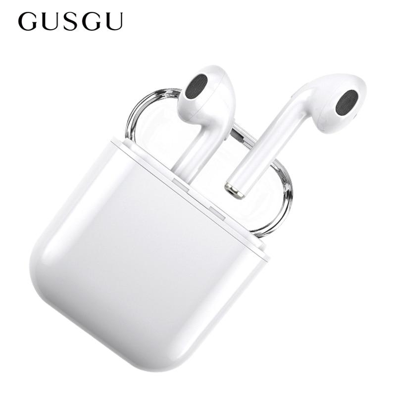 Bluetooth Earphone, GUSGU Mini Wireless Sports Earphone Stereo-Ear Earphones with Noise Canceling and Charging Case for iPhone