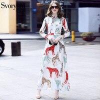 SVORYXIU 2018 Summer Newest Runway Designer Long Dress Women Long Sleeves Animal Printing Beading Elegant White Maxi Dress
