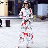 SVORYXIU 2018 Summer Newest Runway Designer Long Dress Women Long Sleeves Animal Printing Beading Elegant White
