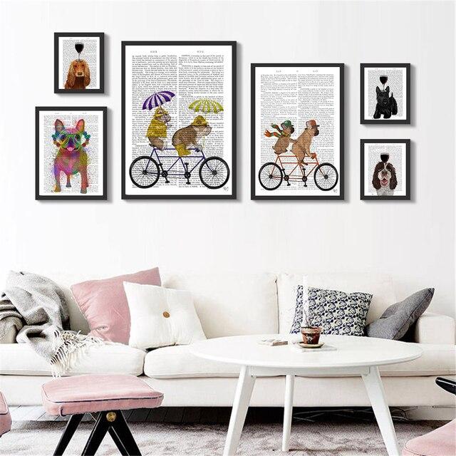 Wall Art Hanging Papier Poster Nette Vin Hund Fahrt Fahrrad Wand