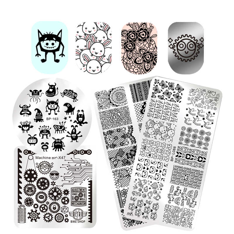 BORN PRETTY Monster Ghosts Stamping Template Flower Animal Fruit Stamp Plate Round Square Rectangle Nail Art Image Plate