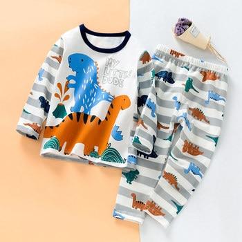 SAILEROAD الأطفال ديناصور منامة مجموعة طفل بيما الكرتون الحيوانات المطبوعة القطن منامة الفتيات البيجامة الطفل ملابس النوم