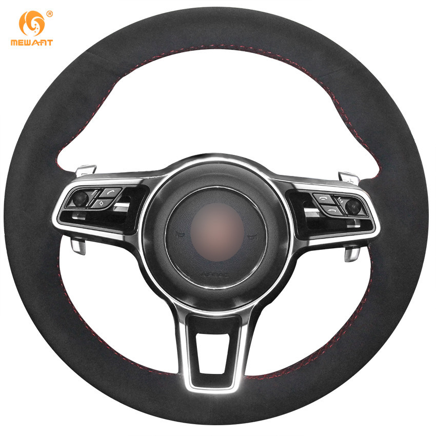 Mewant Black Suede Car Steering Wheel Cover For Porsche
