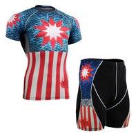 Supereroe Stampato Manica Corta da Uomo Compressione T-Shirt & Shorts Set Uomo Vestiti Allenamento Palestra Fitness Running Training Boxe