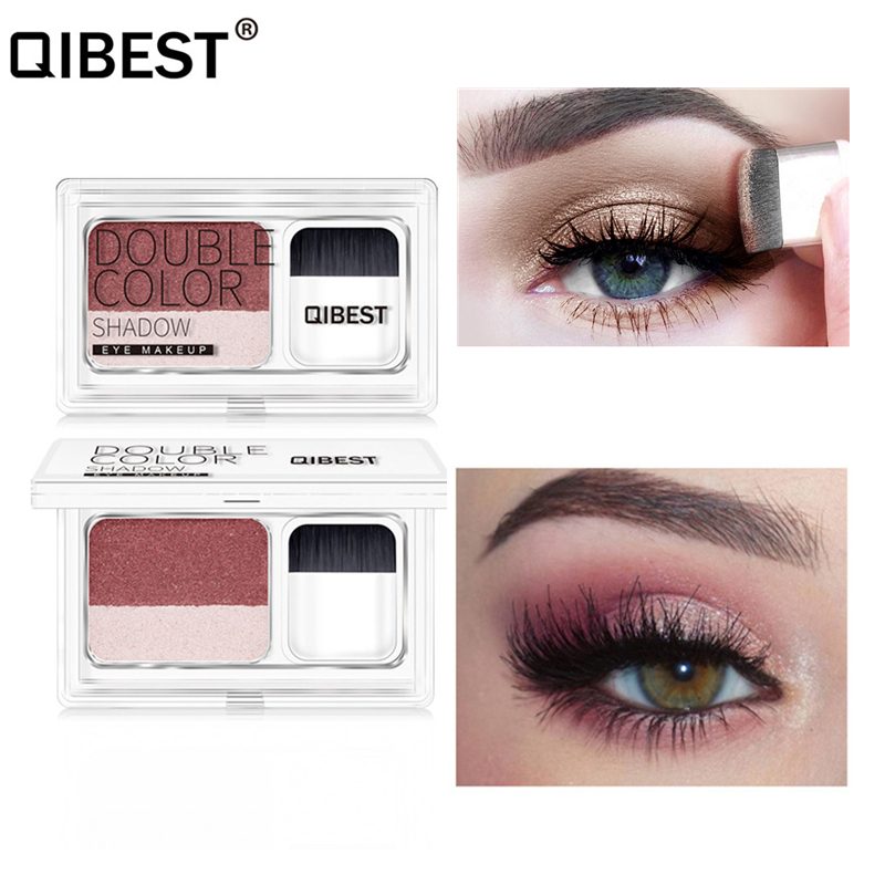 QIBEST Matte Eyeshadow Palette Double Colors Glitter Pigment Eye Shadow Pallete Cosmetics Nude Shimmer With Brush Set Makeup eye shadow
