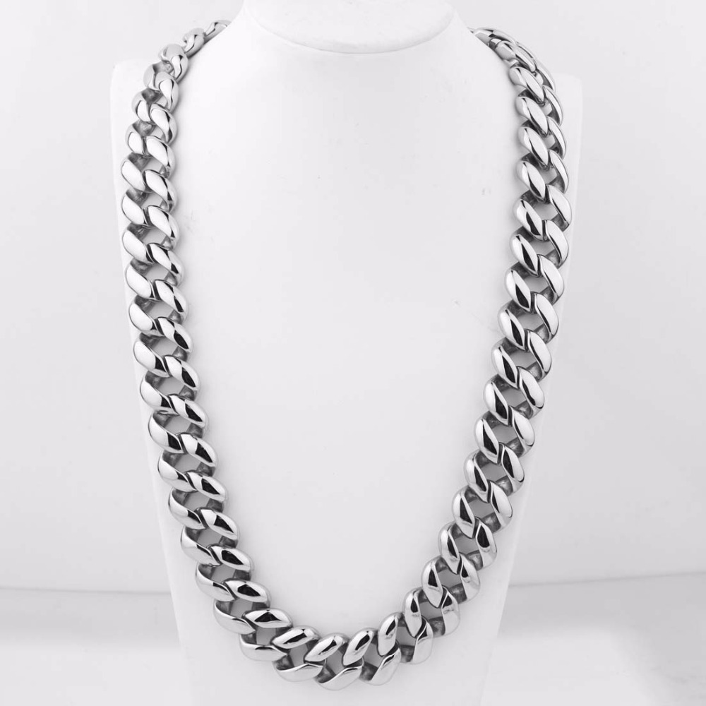 21MM Stainless Steel Chain Necklace 60cm Length Silver Gold Mens Necklace Chains Curb Cuban  Heavy Jewelry Best Gift21MM Stainless Steel Chain Necklace 60cm Length Silver Gold Mens Necklace Chains Curb Cuban  Heavy Jewelry Best Gift