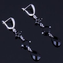 Shining Water Drop Black Cubic Zirconia 925 Sterling Silver Drop Dangle Earrings For Women V0825 цена 2017