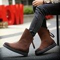 2016 НОВЫЙ стиль мужчины сапоги западной Высокое качество 2 цвета Средний-Икра дизайнер осень мужчины обувь люксовый бренд Челси мужские Мартин сапоги обувь
