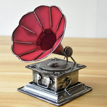 Retro Gramophone Trumpet Model Home Crafts Ornaments Record Players Art Cafe Bar Decoration Phonograph Machine