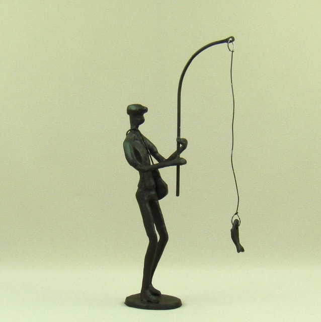 Abstract Metal Fishing Man Sculpture Handmade Cast Iron Angling ...