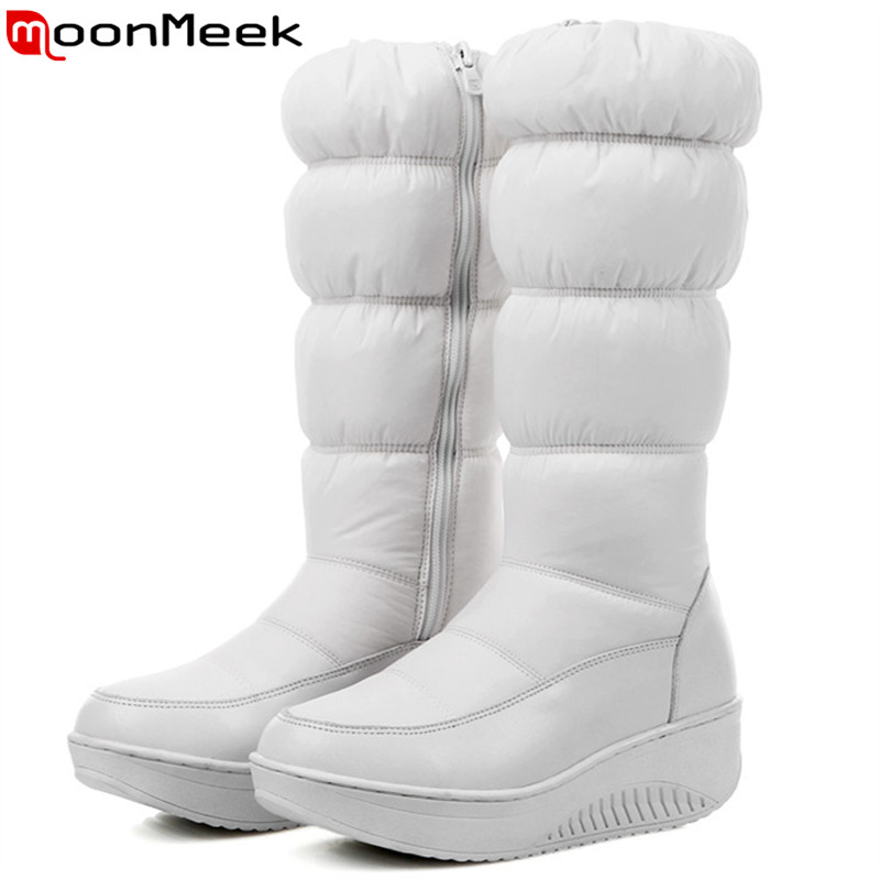 MoonMeek fashion new women boots zipper black white blue Down waterproof Keep warm winter snow boots platform mid calf boots