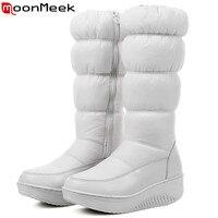 MoomMeek Fashion New Women Boots Zipper Black White Blue Down Waterproof Keep Warm Winter Snow Boots