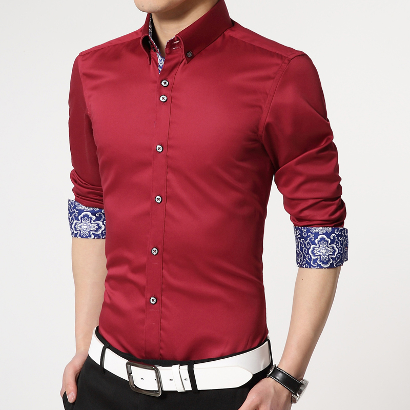 f77d37d09dd Men Simulated Silk Shirt Camisas Hombre Long Sleeve Mens Dress Shirts Slim  Fit Luxury Embroidered Shirt Plus Size 4XL