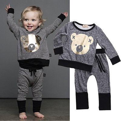 Navidad oso Bebés bebé ropa de las muchachas de los chándales de la historieta +