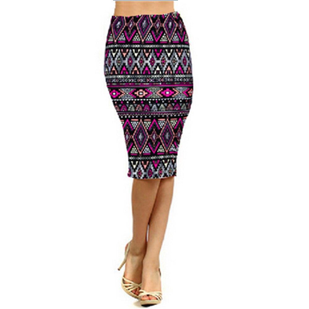 2017 Spring Summer Vintage Fashion Printed Pencil Skirt Midi Women Elastic High Waist Ladies ...