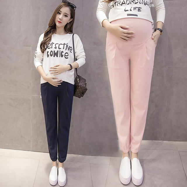 bcb1112e756f0 Casual Maternity Harem Pants Clothes Pregnancy Clothing for Pregnant Women  Fashion Pink Grey High Elastic Trousers