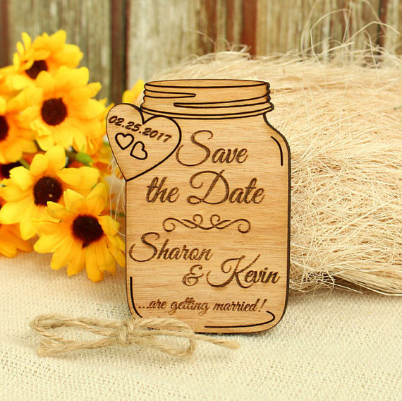 Personalize Wedding Mason Jar Rustic Wooden Save The Date Fridge Magnets Birthday Invitation Cards Bridal Party
