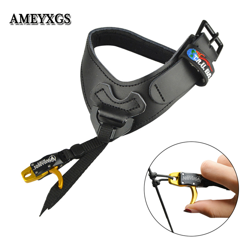 Archery Compound Bow Releases CNC Aluminum Alloy+Cowhide Wristband Camping Practicing Shooting Hunting And Arrow Accessories